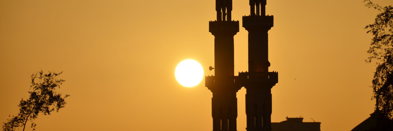 Moschee im Sonnenaufgang